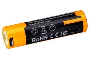Fenix 18650 battery 3500mAh with micro-USB port