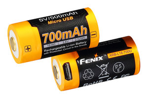 Fenix 16340 battery 700mAh with micro-USB port